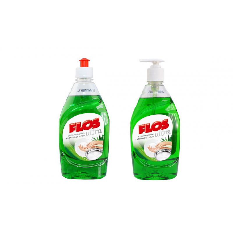 FLOS ultra υγρό πιάτων 1+1 (Αντλία 430ml και Ανταλλακτικό 430ml)