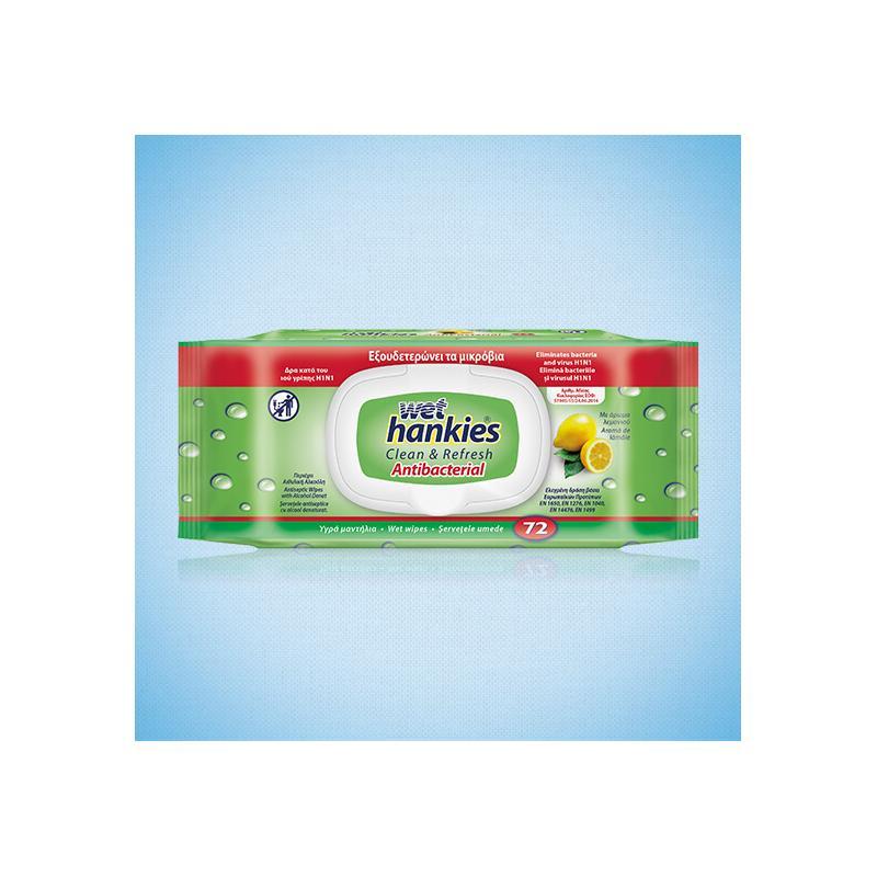Αντιβακτηριδιακά μαντήλια για τα χέρια Wet Hankies 72τεμ
