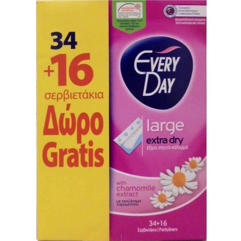 Everyday Extra Dry Σερβιετάκια Large 34 Τεμάχια + 16 Τεμάχια Δώρο