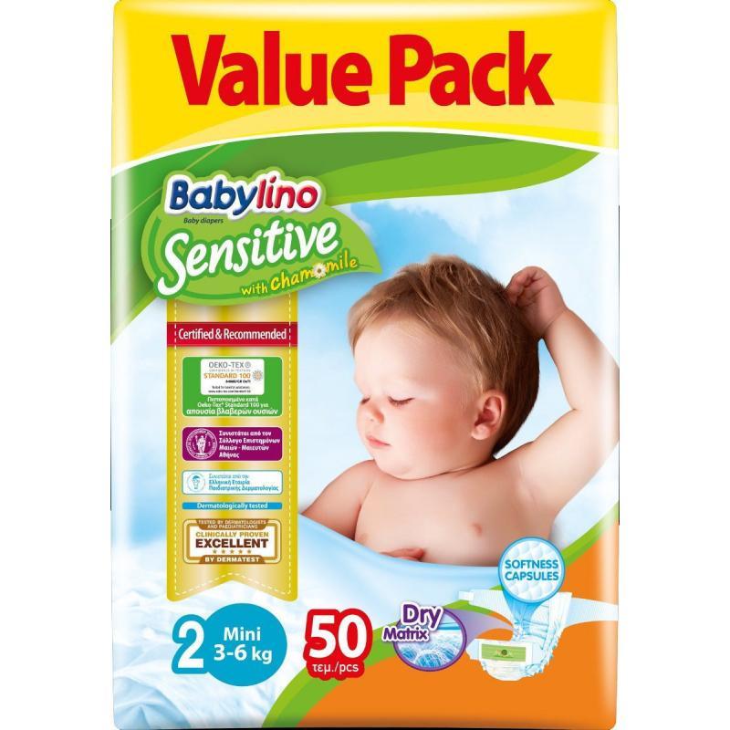 Πάνα Babylino sensitive No2 (3-6Kg) 50τεμ