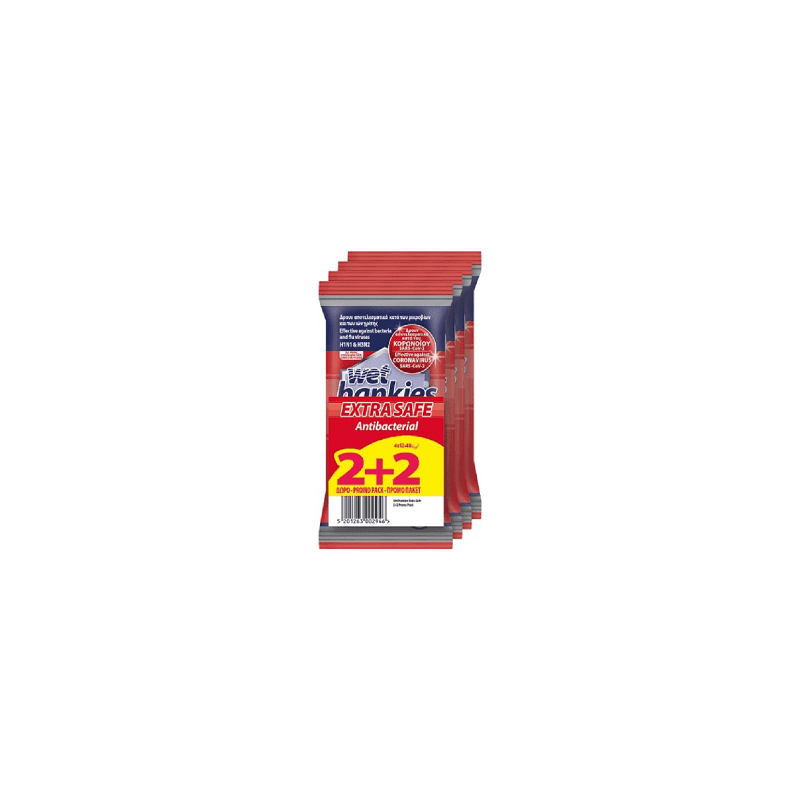 Wet Hankies Extra Safe-Αλκοολούχα Μαντηλάκια-12 Τεμ. 2+2