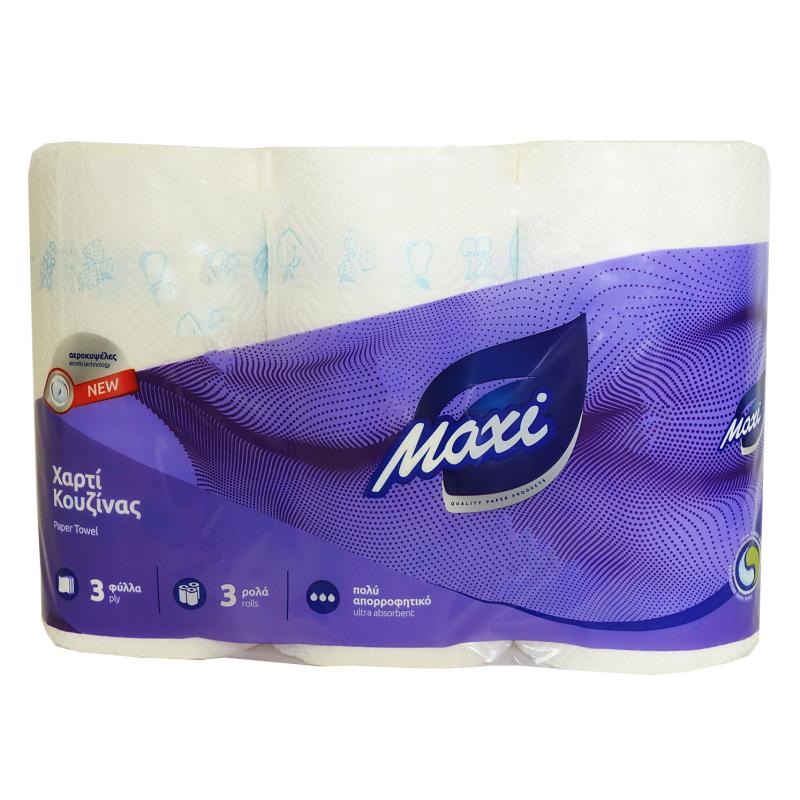 Χαρτί κουζίνας MAXI 3Φ ΛΕΥΚΟ DESL 80Φ 3 ΡΟΛΑ (BC 20186)