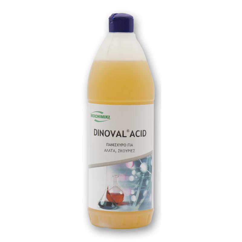 Ειδικό Kαθαριστικό υγρό αλάτων, σκουριάς & υπολειμμάτων μπετόν σε δαπέδα & επιφάνειες DINOVAL ACID 1 Lt