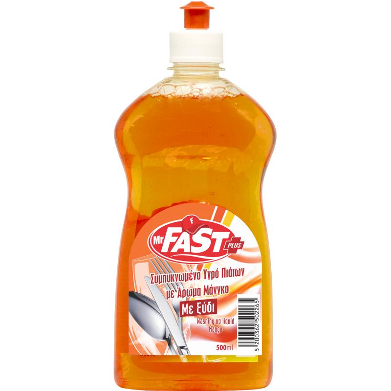 Mr Fast Συμπυκνωμένο Υγρό Πιάτων Plus με άρωμα Μάνγκο 500ml
