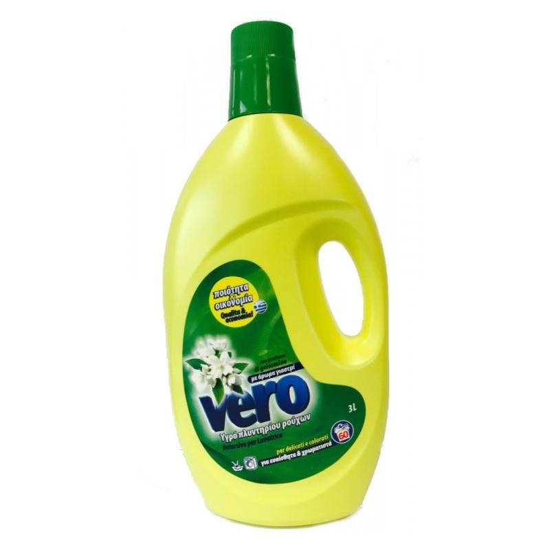 Απορριπαντικό πλυντηρίου FLOS VERO σε Υγρό με άρωμα Γιασεμί  Συσκευασία 3Lt